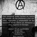 25 de Septiembre | Conversatorio Antiautoritario en E.S.A & Biblioteca Autónoma Sante Geronimo Caserio